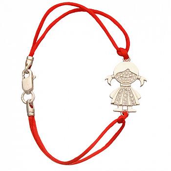 Браслет Девочка с красным шнурком 000012221