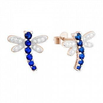 Серебряные серьги с позолотой и синим цирконием Стрекозы 000039816