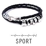 Кожаный браслет с серебром Sport
