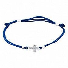 Шелковый синий браслет Крест с серебряной вставкой и фианитами