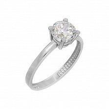 Золотое помолвочное кольцо Юли в белом цвете с фианитом в четырех крапанах