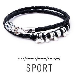 Кожаный браслет со словом Sport из серебра азбукой Морзе