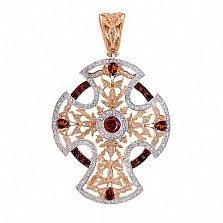 Декоративный крест в красном золоте с фианитами Анастасия