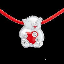 Детское колье Мишка с сердечком с эмалью и кристаллом Swarovski на кожаном шнурке