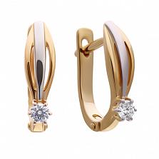 Золотые серьги Лира с бриллиантами