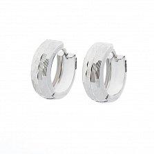 Серьги-кольца из белого золота Алондра