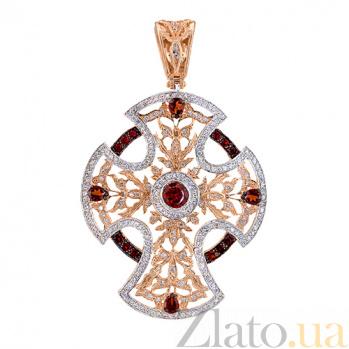 Декоративный крест в красном золоте с фианитами Анастасия VLT--ТТ3568-2-4