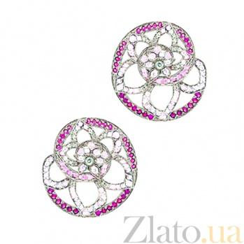 Золотые серьги с рубинами, бриллиантами и сапфирами День третий  000029563