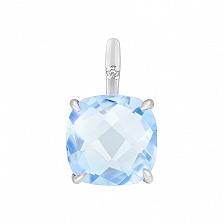 Подвес в белом золоте Элеонора с голубым топазом и бриллиантом
