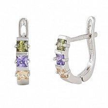 Сережки из серебра с разноцветным цирконием Братислава