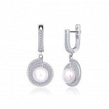 Серебряные серьги с жемчугом и цирконием Эдвина