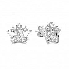 Серебряные серьги-пуссеты Корона с кристаллами циркония