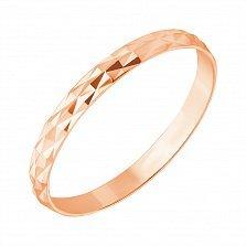 Золотое обручальное кольцо Энергия любви в красном цвете с алмазной гранью