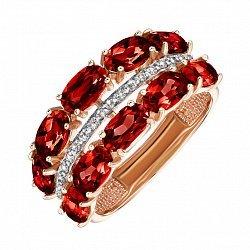 Кольцо из красного золота с гранатами  и фианитами 000134069