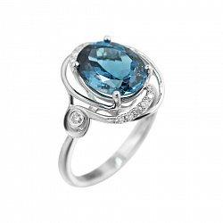 Кольцо из белого золота с бриллиантами и голубым топазом 000080893