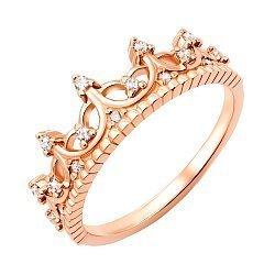 Кольцо-корона из красного золота с фианитами 000130300