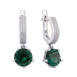 Серебряные серьги-подвески с зеленым кварцем и цирконием 000012654