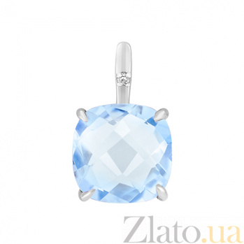 Подвес в белом золоте Элеонора с голубым топазом и бриллиантом 000032619