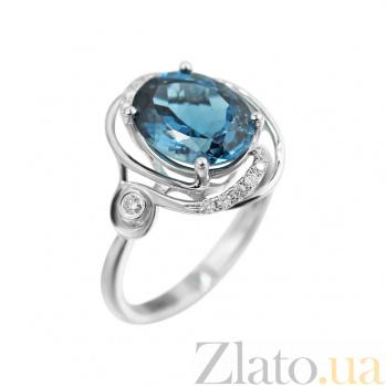 Кольцо из белого золота Миранда с бриллиантами и голубым топазом 000080893