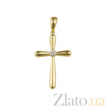 Крестик из желтого золота Луч света с бриллиантом 000081071