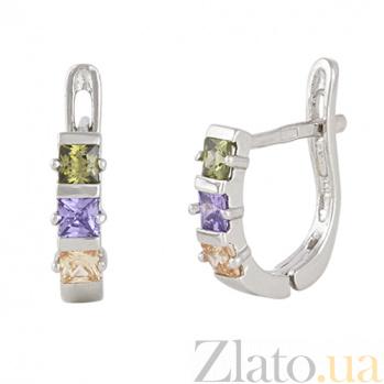 Сережки из серебра с разноцветным цирконием Братислава SLX--С2ФЦ/343