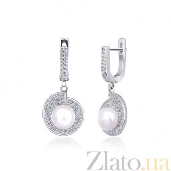 Серебряные серьги с жемчугом и цирконием Эдвина 000024618