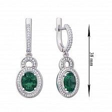 Серебряные серьги-подвески с зеленым кварцем и фианитами 000134401