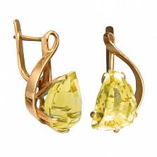 Золотые серьги с жёлтым топазом Кэйтлайн
