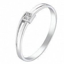 Помолвочное серебряное кольцо Прелесть с фианитом