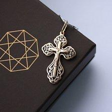 Серебряный позолоченный крест Светлый покровитель с чёрной эмалью