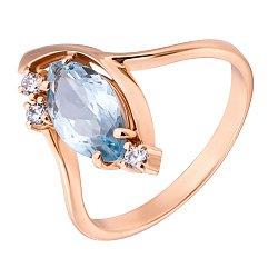 Золотое кольцо Альпинелла в красном цвете с голубым топазом и фианитами