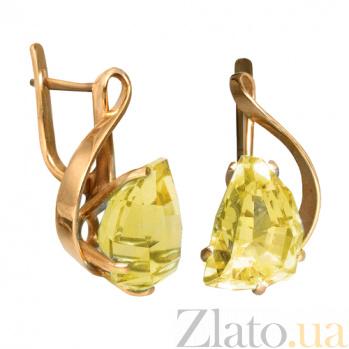 Золотые серьги с жёлтым топазом Кэйтлайн PTL--1с151/30