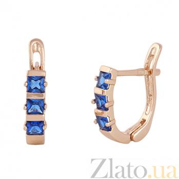 Cережки из серебра с синим цирконием Братислава SLX--С3ФЦ1/343