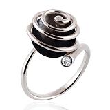 Эксклюзивное кольцо Морской вихрь с черным жемчугом и бриллиантом