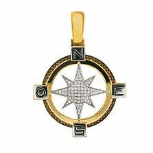 Подвеска Путеводная Звезда из желтого золота
