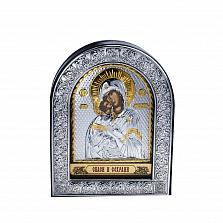Серебряная икона Божья Матерь Владимирская с позолотой