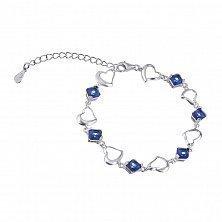 Серебряный браслет с Лючия с синими фианитами