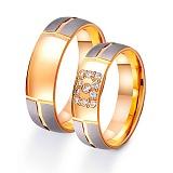Золотое обручальное кольцо Элегантность стиля с фианитами