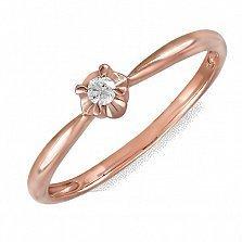Кольцо из красного золота Цвет любви с бриллиантом