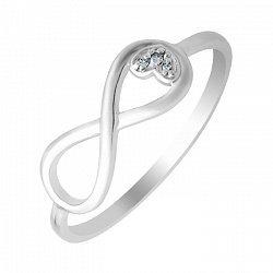 Кольцо в белом золоте Вечная любовь с бриллиантами