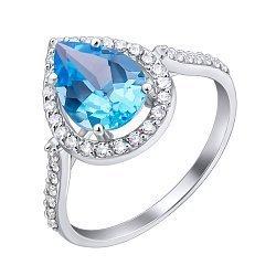Кольцо из белого золота с голубым топазом и фианитами 000001697