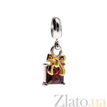 Серебряная бусина с позолотой и красным цирконием AQA--231520009/5-2
