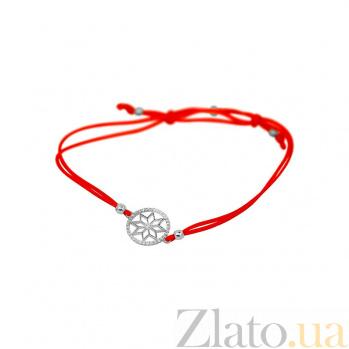 Браслет из белого золота и красной нити Алатырь с фианитами 000081288