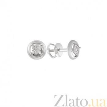 Золотые пуссеты с бриллиантами Jill KBL--С2431/бел/брил