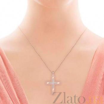 Крестик из розового золота с бриллиантами Тайна: Верность 7007