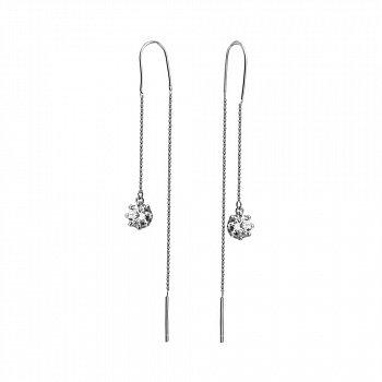 Срібні сережки-протяжки з фіанітами 000130065