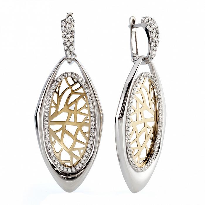 Серебряные серьги-подвески с золотом и фианитами Дженна 000030184