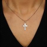 Серебряный крестик Благостная защита с насечками