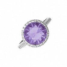 Серебряное кольцо Алина с аметистом и фианитами