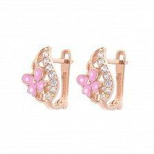 Золотые серьги Фиона с цветами, дорожками белых фианитов и розовой эмалью